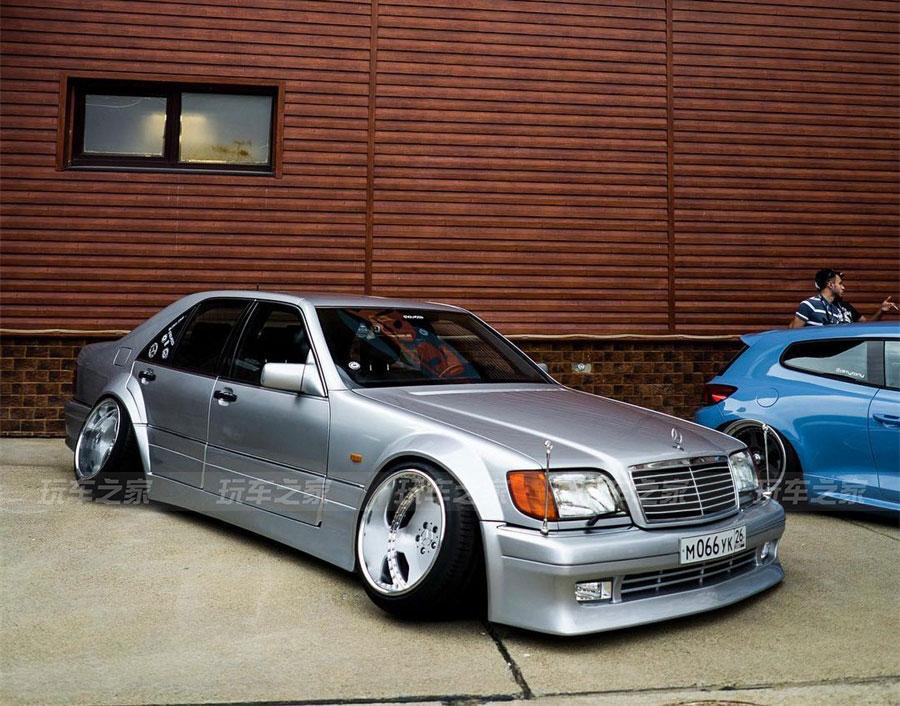 奔驰W140改装VIP风格,手工宽体加14.5J超宽后轮